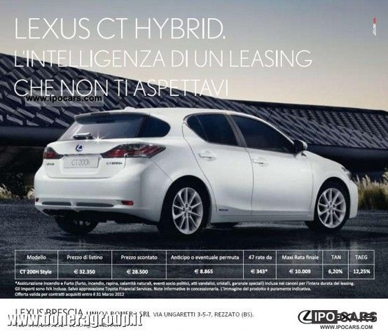 Lexus  CT 200h Style RATE BECAUSE € 343 2011 Hybrid Cars photo