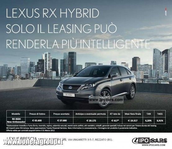 Lexus  RX 450h Ambassador RATE BECAUSE € 617 2011 Hybrid Cars photo